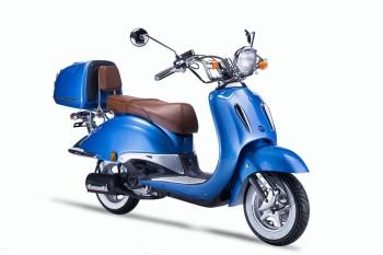 TECHNO CLASSIC 2.0 RETRO ROLLER 50ccm blau mit Topcase und brauner Sitzbank 45kmh