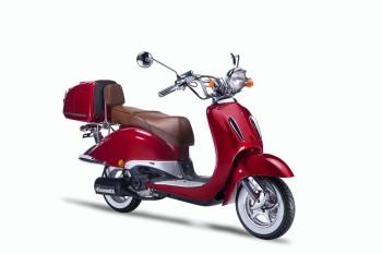TECHNO CLASSIC 2.0 RETRO ROLLER 50ccm rot mit Topcase und brauner Sitzbank 45kmh