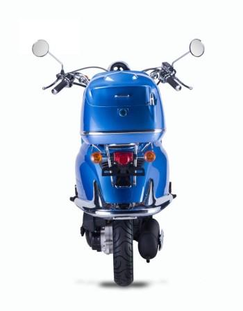 TECHNO CLASSIC 2.0 RETRO ROLLER 50ccm blau mit Topcase und schwarzer Sitzbank 45kmh