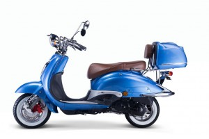 TECHNO CLASSIC 2.0 RETRO ROLLER 50ccm blau mit Topcase und brauner Sitzbank