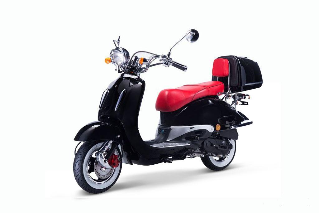 motorroller techno classic retro roller schwarz mit roter. Black Bedroom Furniture Sets. Home Design Ideas