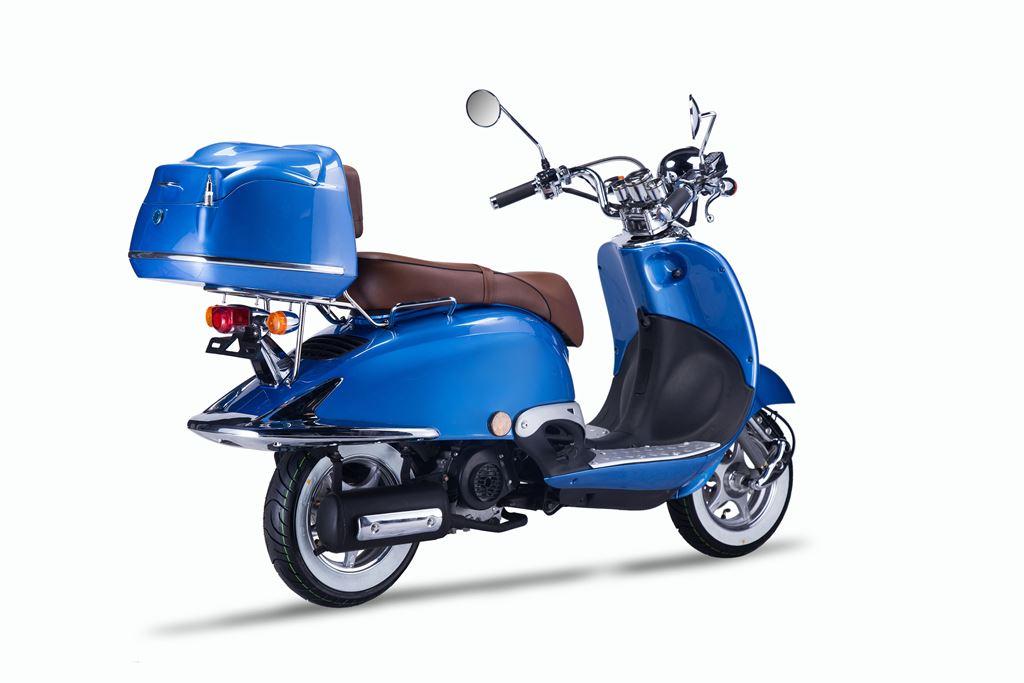 motorroller techno classic retro roller blau mit brauner sitzbank. Black Bedroom Furniture Sets. Home Design Ideas