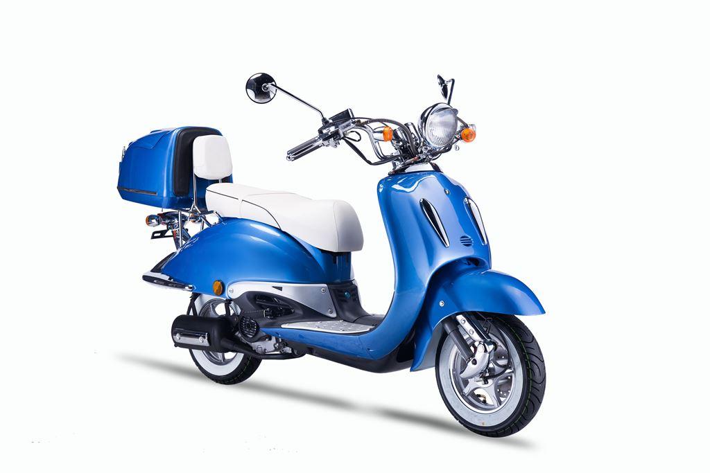 motorroller techno classic retro roller blau mit weisser. Black Bedroom Furniture Sets. Home Design Ideas